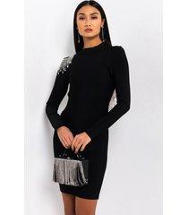 akira baddie with no budget long sleeve dress with rhinestone fringe