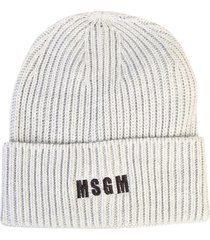 msgm ribbed knit beanie hat