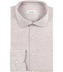 camicia da uomo su misura, maglificio maggia, beige melange piquet cotone, quattro stagioni | lanieri