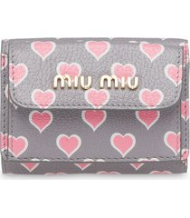 miu miu heart-print madras wallet - grey