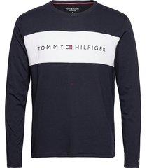 cn ls tee logo flag t-shirts long-sleeved blå tommy hilfiger