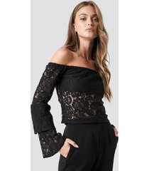 na-kd party off shoulder flounce sleeve lace top - black