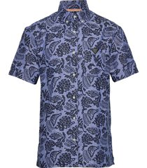 hawaii fit- all-over printed linen shortsleeve shirt overhemd met korte mouwen blauw scotch & soda