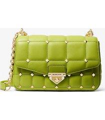 mk borsa a spalla soho grande in pelle trapuntata con borchie - lime (verde) - michael kors