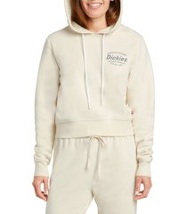 women's dickies logo graphic crop hoodie, size x-small - white