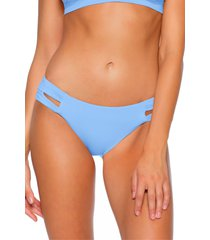 women's soluna clear skies full moon cutout bikini bottoms, size small - blue
