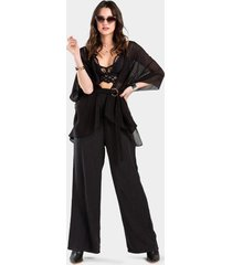 poppy belted kimono - black