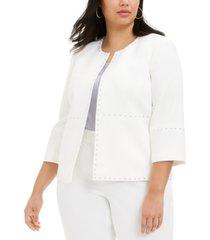 kasper plus size round-neck studded jacket