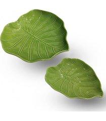 conjunto de pratos em cerâmica folhas 2 peças - tricae