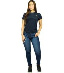 camiseta básica azul marino para mujer