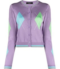 versace argyle intarsia-knit silk cardigan - purple