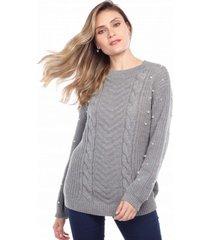 blusa manga longa ralm tricot tranã§as cinza - cinza - feminino - dafiti