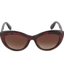 alexander mcqueen women's 55mm cat eye sunglasses - red