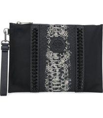 philipp plein studded leather clutch bag - black