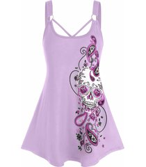 plus size paisley skull print o ring tank top