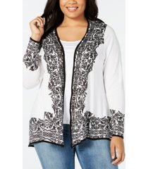 belldini plus size border-print swing cardigan