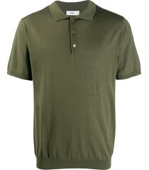closed short sleeve wool polo shirt - green