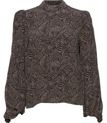 tikagz blouse so21 blouse lange mouwen bruin gestuz