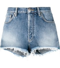 alanui navajo-style embroidered denim shorts - blue