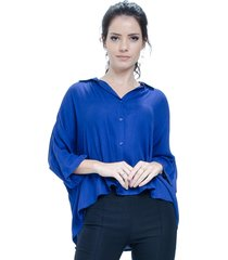camisa 101 resort wear poncho viscose azul