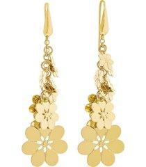 orecchini fiori in ottone dorato per donna