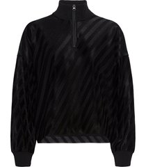 stewart, 1005 stretch jacquard sweat-shirt trui zwart stine goya