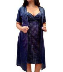conjunto linda gestante camisola de alcinha com robe maternidade e pós parto - feminino