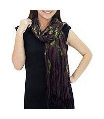 silk scarf, 'aubergine dance' (thailand)