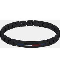tommy hilfiger men's ion-plated black id bracelet black -