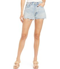 agolde parker distressed organic cotton cutoff denim shorts, size 26 in encore at nordstrom