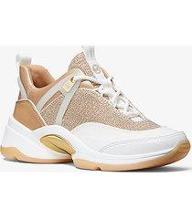 mk sneaker sparks in pelle e mesh effetto metallizzato con glitter - oro pallido (oro) - michael kors