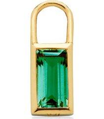 gold baguette ear charm green onyx