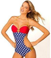 wonder woman stars logo 1 piece superhero dc ring monokini bathing swim suit