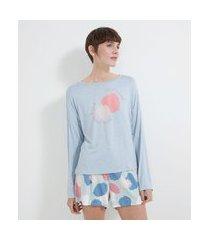 pijama manga longa e short em viscolycra estampa self love com pinceladas | lov | azul | p