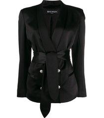 balmain belted satin jacket - black