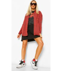 oversized geruite blouse, red