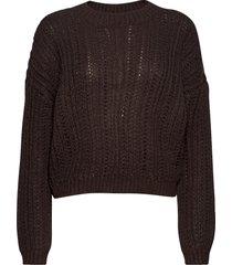 onlpolly l/s pullover knt stickad tröja brun only