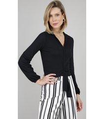 camisa feminina canelada com nó manga longa preta