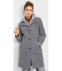 korte coat met wol, layerlook
