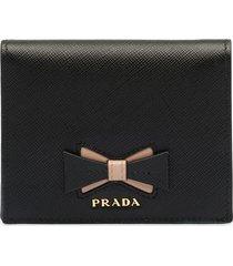 prada bow-embellished saffiano wallet - black
