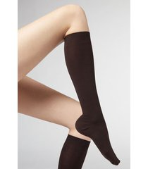 calzedonia long socks in cotton with cashmere woman brown size 39-41