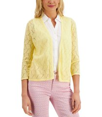 charter club crocheted open-front cardigan, created for macy's