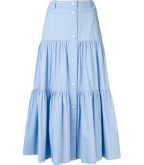 redvalentino stretch poplin flounced skirt - blue