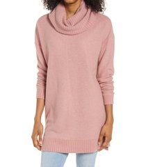 women's lulus autumn daze cowl neck tunic, size x-small - pink
