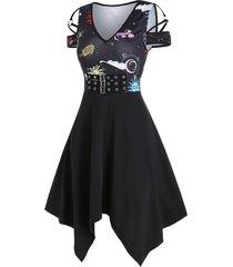 cold shoulder buckle belt printed dress