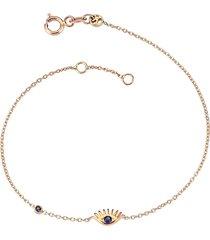 solitaire sapphire evil eye bracelet