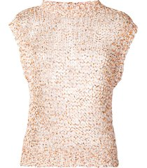 roberto collina open knit tank top - orange