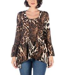 women's animal print bell sleeve high low top