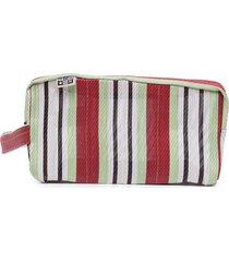 bonton striped zip pouch - green