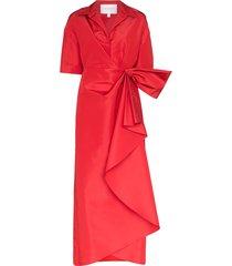 carolina herrera gathered silk-taffeta maxi dress